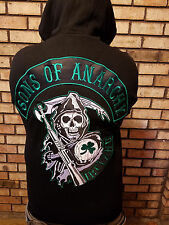 Sons Of Anarchy Embroidered Official Ireland Biker Zip Hoodie & FREE patch set