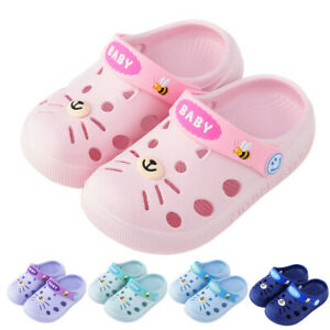 Children Kid Cartoon Home Slippers Cat Floor Shoes Baby Girls Boys Jelly Sandals
