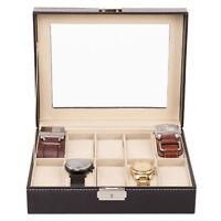 Uhrenbox Uhrenkoffer für 10 Uhren Uhrentruhe Uhrenkasten Uhrenschatulle