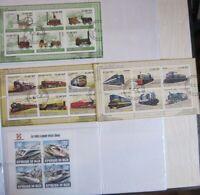 Lot de 13 blocs de timbres oblitérés sur les trains