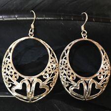 Oval Hoop Dangle Earrings 2� Long Big Vintage Estate Sterling Silver Diamond Cut