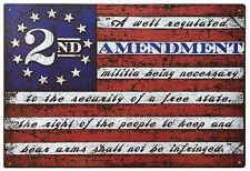 "2nd Amendment Brand Vintage Style American Flag Tin Sign 11""x16"" Second 2A Retro"