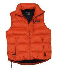 Polo Ralph Lauren RLX Mens Down Puffer Jacket Quilted Vest Orange Black Medium