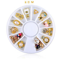 Jewelry Rhinestones Charms Alloy 3D Nail Art 12 Styles Decorations Gold