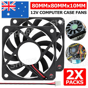 2x 80x80x10mm DC 12V Brushless Silent Computer PC Case Cooling Cooler Fans