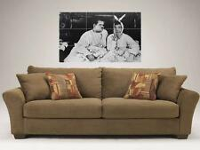 """LAUREL AND HARDY B&W MOSAIC 35""""X25"""" INCH WALL POSTER COMEDY RABBITS"""