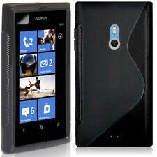 NUOVO PER Sline S-Line Gel Custodia Cover Pelle per Nokia Lumia 800 Nero