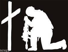 SOLDIER KNEELING AT CROSS Sticker military praying #6