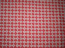 Funky RED & WHITE GEOMETRIC Fabric (55cm x 30cm)