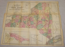 1857 CENSUS MAP of NEW YORK STATE, POPULATION by DISTRICTS // 19x23