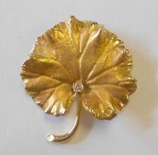 Mine Cut Diamond Geranium Leaf 40x35mm Vintage 14K Solid Yellow Gold Pin Brooch