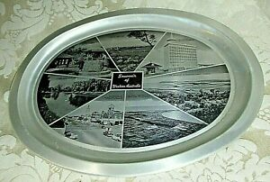 Souvenir Aluminium TRAY Western Australia 1960 /70's B/W Photo Scenes REtro MCM