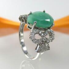 A763 Ring 925 Sterling Silber mit echtem Smaragd und Zirkonia Steine Gr. 60