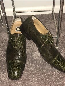 MEN'S DAVID EDEN CROCODILE SQUARE TOE DRESS SHOES SIZE 15/Green