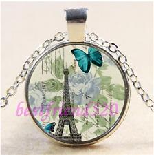 Glass Tibet Silver Pendant Necklace#Ca69 Butterfly Paris Eiffel Tower Cabochon