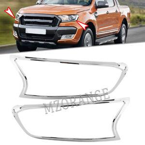 2x Chrome Front Head Light Lamp Cover Trim For Ford Ranger UTE T7 T8 2015-2021