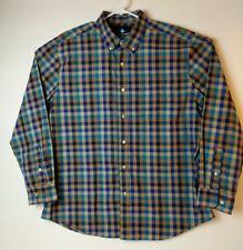 Saddlebred Wrinkle-Free Mens Long Sleeve Plaid Shirt X-Large Blue Turquoise Tan
