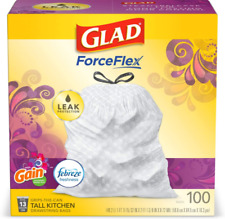 Glad ForceFlex Tall Kitchen Drawstring Trash Bags, 13 Gal, 100 Ct (Package May V