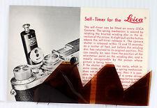 Original Leitz NY Sales Brochure for Leica Tripod Head & Self Timer - June 1953