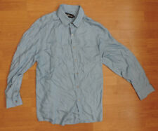 "Men's Joe Bananas Designer Large 44"" Cotton Casual Shirt Light Sky Blue E3-A6"
