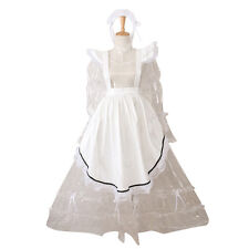 Sissy Lockable Maid Long Dress Transparent PVC French Uniform Costume