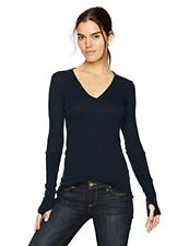 Enza Costa Women's Cashmere Long Sleeve Cuffed V-Neck Top, Cadet, Size Medium 3r