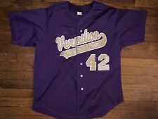 Vermillion Wilson Baseball Jersey Size Xl Sticthed Purple #42 Very Clean!