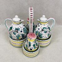 Vintage Cottura Salt Pepper Vinegar Oil Pottery Set with Caddy Made in Italy Vtg