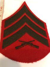 "SERGEANT CHEVRON USMC ""GUNNY"" E-5 GREEN ON RED FELT WWII ORIGINAL Stk # 318"
