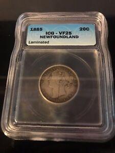 1885 Newfoundland Canadian 20¢ Coin VF25 (C258)
