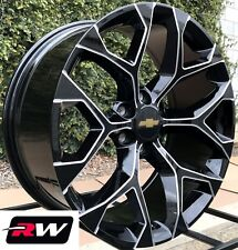 "Chevy Tahoe 20"" inch Wheels Black Milled Rims GMC Sierra Snowflake Rims 20x9"""