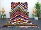 "Moroccan Handmade Vintage Rug 4'6""x8'3"" Berber Checkered Multicolor Cotton Rug"