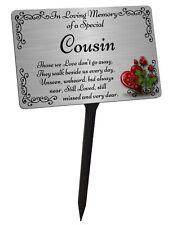 Cousin Memorial Plaque & Stake. Brushed Silver Waterproof garden grave