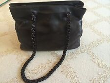 Prada Dark Brown Leather Bag with Leather Chain