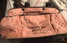 JUICY COUTURE BABY PINK VELOUR DIAPER BAG W/CHANGING PAD