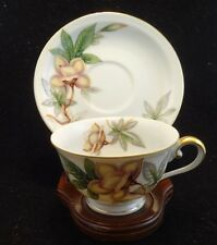 MEITO china WOODROSE pattern CUP & SAUCER Set