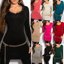 Sexy Miss Damen Long Pullover Spitze Strass Pulli Strick Mini Kleid 34/36/38 TOP
