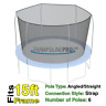 15' Round Trampoline Safety Net For 6 Angled / Straight pole Enclosure Systems