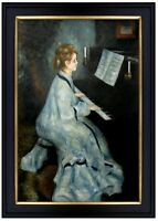 Framed, Renoir Lady at the Piano Repro Quality Hand Painted Oil Painting 24x36in