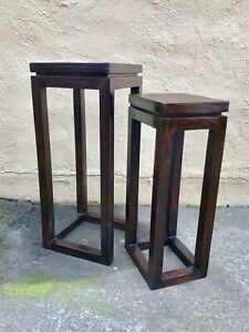 "A Set Of Hardwood Dark Brown Tall 29"" Square Space Saving Boho Nesting Tables"