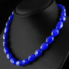 421.00 CTS EARTH MINED RICH BLUE SAPPHIRE OVAL FACETED BEADS HAND MADE NECKLACE