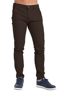 Mens Chino Trousers Slim Fit Cotton Stretch Jeans Pants Waist Sizes 32-40