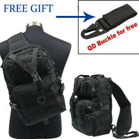 Molle Tactical Rucksack Messenger Sling Shoulder Bag Hiking Backpack +QD Buckle