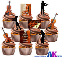 Violin Party Pack 36 Edible Stand Up Cup Cake Toppers Classical Decorations