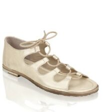 Regarde Le Ciel Adele, Flat Sandals, Gold Leather With Laces, Sz 40, Brand New