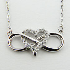 Sterling Silver 925 Ladys Heart Infinity Pendant Womens 18