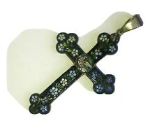 More details for 1920s. very pretty micro mosaic cross / crucifix. forget-me-nots set in silver.