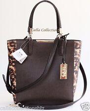 New COACH Madison Colorblock Saffiano Leather Mini NS Tote-F32683-Gold/Brown