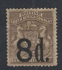 Rhodesia SG17 - 8d on 1/ - 1892  hinged mint - Cat £225