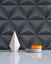 3D Effect Wallpaper Geometric Unplugged Textured Black Grey Wallpaper UN3303